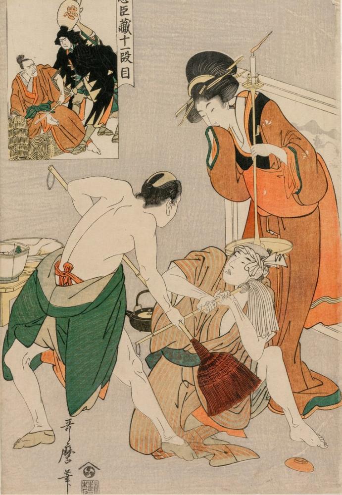 Kitagawa Utamaro, Chushingura Act XI Sadakat Deposu, Canvas, Kitagawa Utamaro, kanvas tablo, canvas print sales