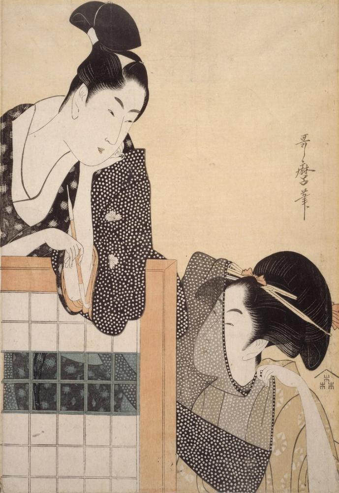 Kitagawa Utamaro, Couple with a Standing Screen, Canvas, Kitagawa Utamaro, kanvas tablo, canvas print sales