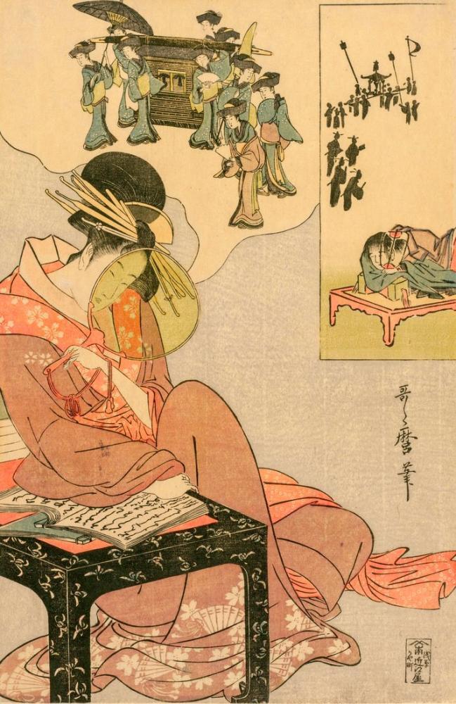 Kitagawa Utamaro, Courtesan Dreaming of a Marriage Procession, Canvas, Kitagawa Utamaro, kanvas tablo, canvas print sales
