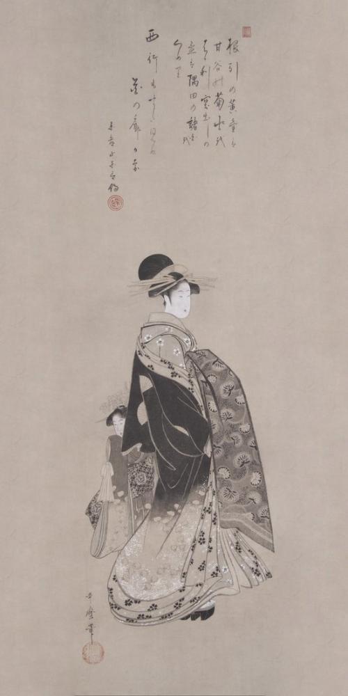 Kitagawa Utamaro,  Courtesan in Pocession, Canvas, Kitagawa Utamaro, kanvas tablo, canvas print sales