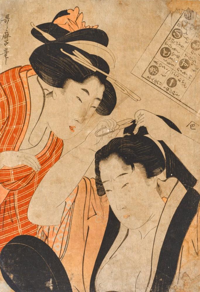 Kitagawa Utamaro, Cutting Hair, Canvas, Kitagawa Utamaro, kanvas tablo, canvas print sales