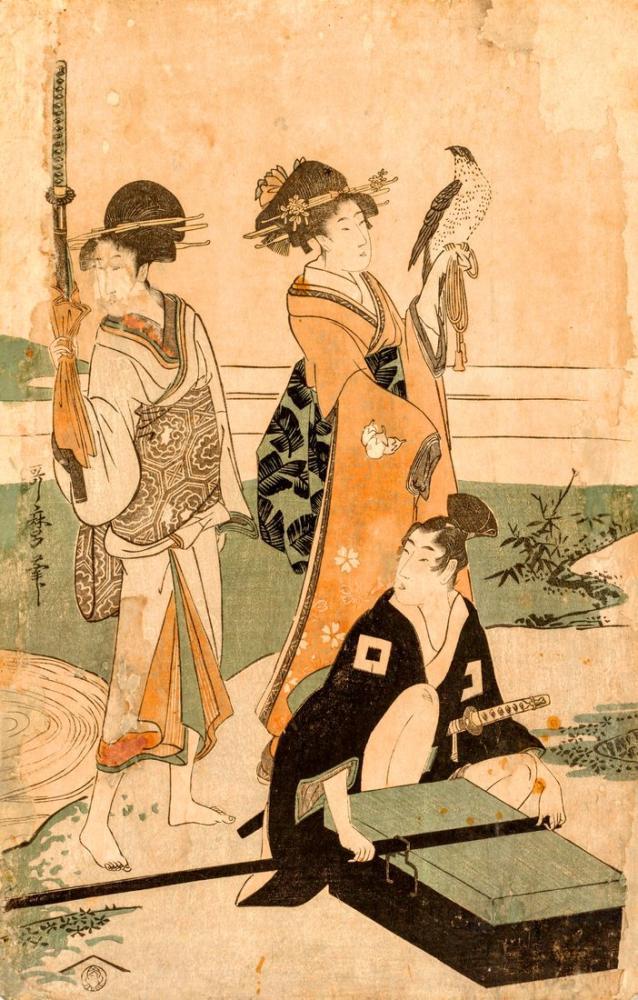 Kitagawa Utamaro, Daimio and his Retinue Crossing a Stream in Plain Near Fuji, Canvas, Kitagawa Utamaro, kanvas tablo, canvas print sales