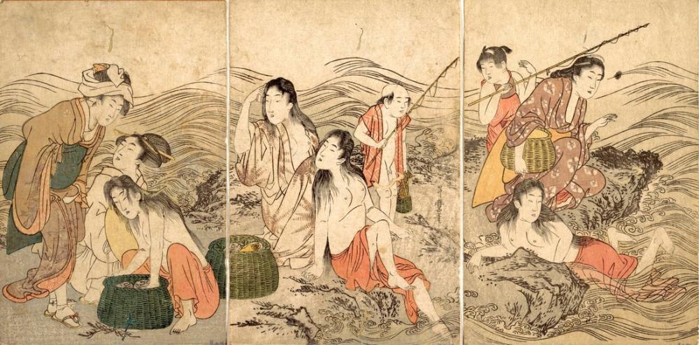 Kitagawa Utamaro, Enoshima Yūryō Awabi tori no Zu, Canvas, Kitagawa Utamaro, kanvas tablo, canvas print sales