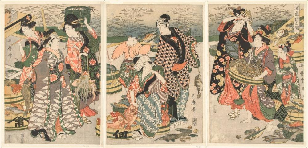 Kitagawa Utamaro, Gezicht op de vismarkt op het strand te Shiba, Canvas, Kitagawa Utamaro, kanvas tablo, canvas print sales