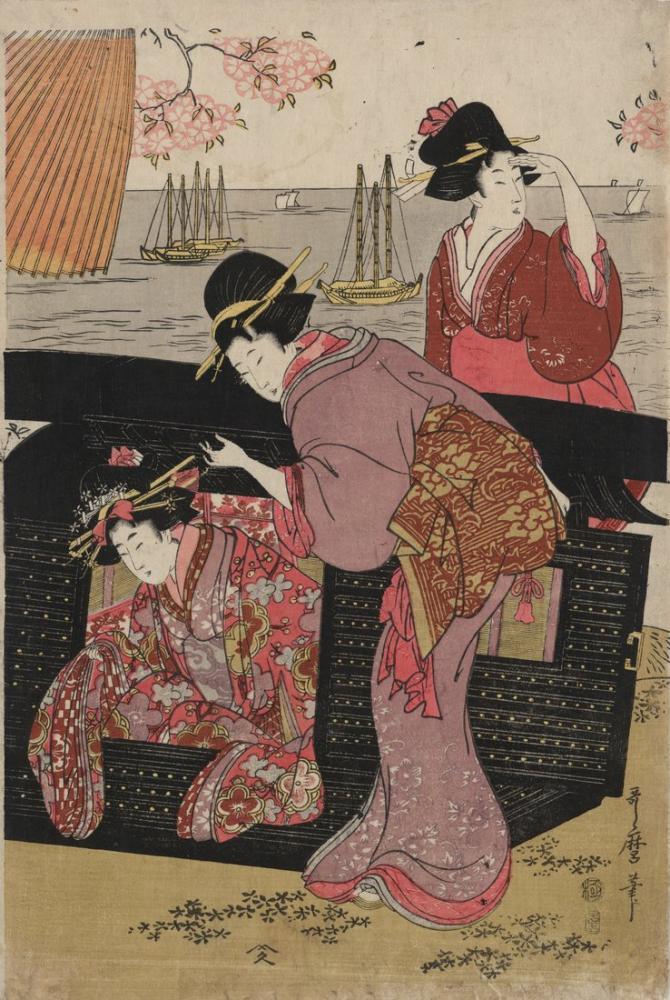 Kitagawa Utamaro, Gotenyama no hanami, Canvas, Kitagawa Utamaro, kanvas tablo, canvas print sales
