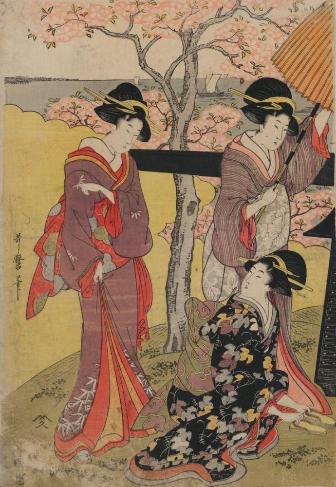 Kitagawa Utamaro, Gotenyama no hanami hidari, Canvas, Kitagawa Utamaro, kanvas tablo, canvas print sales