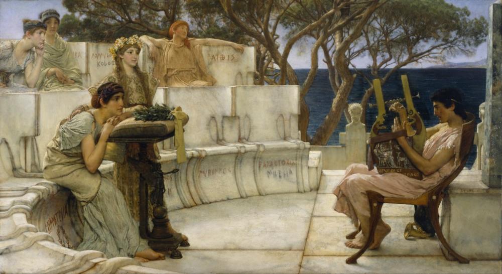 Sappho and Alcaeus, Lawrence Alma Tadema, Canvas, Lawrence Alma-Tadema, kanvas tablo, canvas print sales