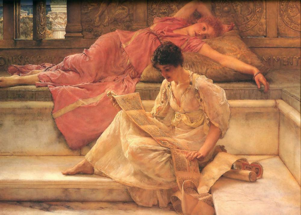 En Sevdiği Şair, Lawrence Alma-Tadema, Kanvas Tablo, Lawrence Alma-Tadema, kanvas tablo, canvas print sales