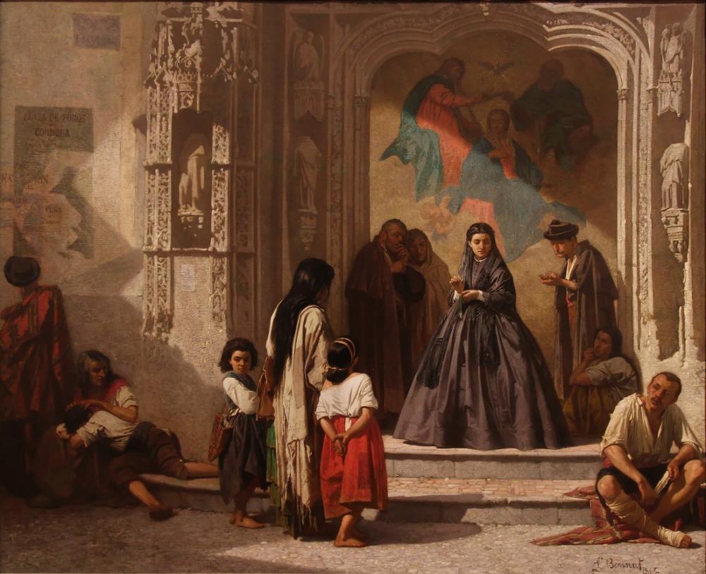 Leon Bonnat Genç Kadın Cordoba San Sebastian Hastanesi Şapeli Girişinde Yardım Yapıyor, Kanvas Tablo, Léon Bonnat, kanvas tablo, canvas print sales