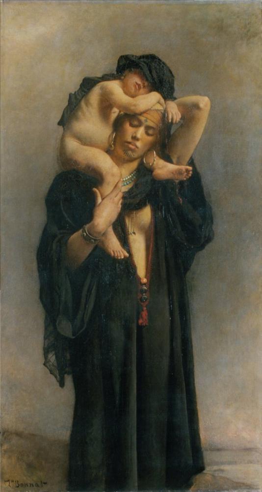 Leon Bonnat Mısırlı Bir Köylü Kadını Ve Çocuğu, Kanvas Tablo, Léon Bonnat, kanvas tablo, canvas print sales