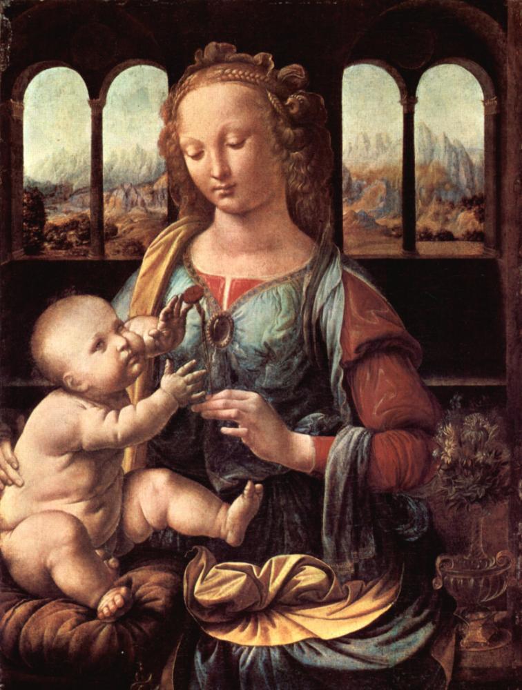 Madonna of The Carnation, Leonardo da Vinci, Canvas, Leonardo Da Vinci, kanvas tablo, canvas print sales