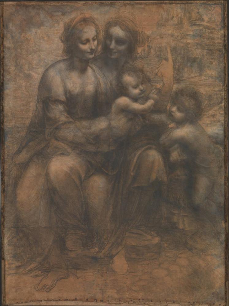 St Anne ve Vaftizci Yahya ile Bakire ve Çocuk, Leonardo da Vinci, Kanvas Tablo, Leonardo Da Vinci, kanvas tablo, canvas print sales