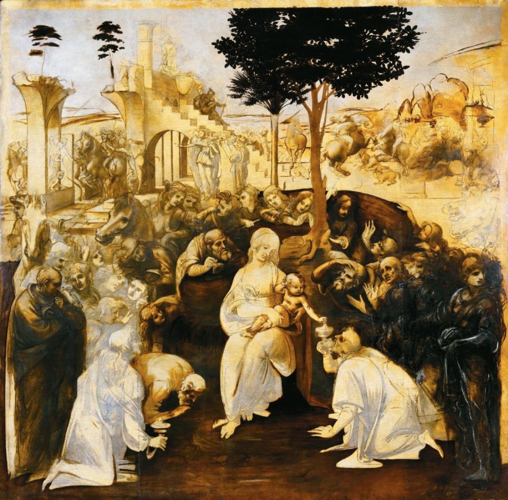 Leonardo da Vinci, Adoration of the Magi, Canvas, Leonardo Da Vinci, kanvas tablo, canvas print sales