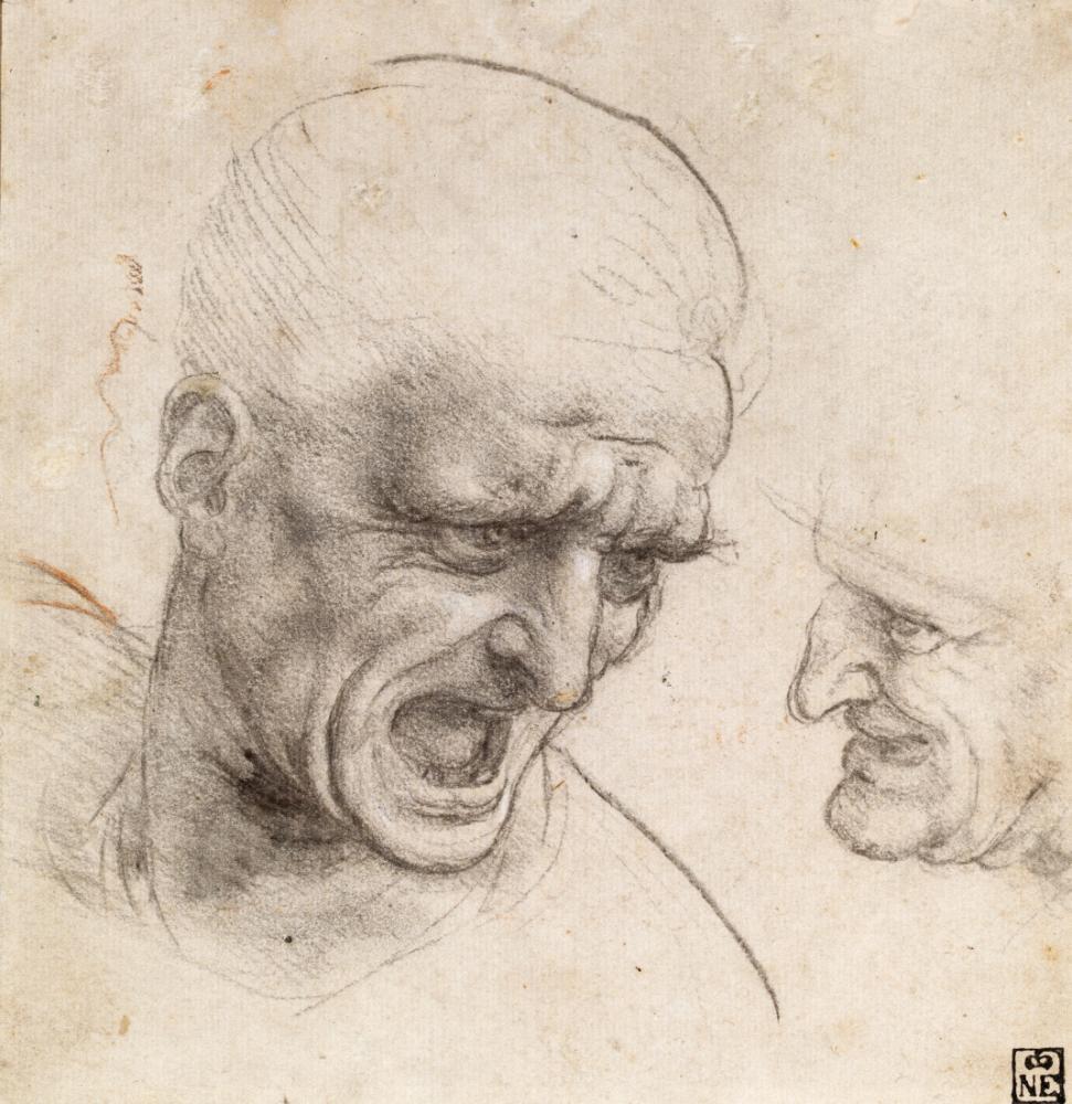 Leonardo da Vinci,  Anghiari Muharebesi İçin İki Savaşçının Kafası Çalışması, Kanvas Tablo, Leonardo Da Vinci, kanvas tablo, canvas print sales