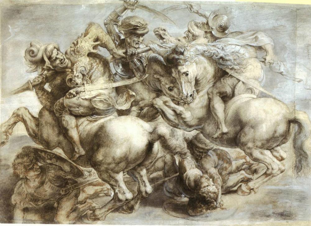 Leonardo Da Vinci The Battle of Anghiari, Canvas, Leonardo Da Vinci, kanvas tablo, canvas print sales
