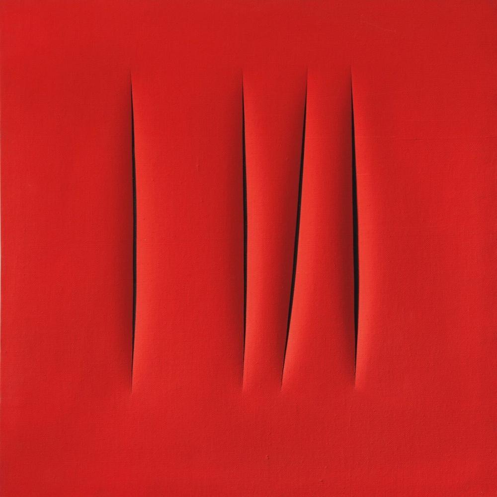 Lucio Fontana, Concetto Spaziale, Attese, Red 19, Canvas, Lucio Fontana, kanvas tablo, canvas print sales