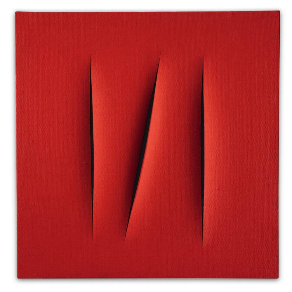 Lucio Fontana, Concetto Spaziale, Attese, Kırmızı 9, Kanvas Tablo, Lucio Fontana, kanvas tablo, canvas print sales
