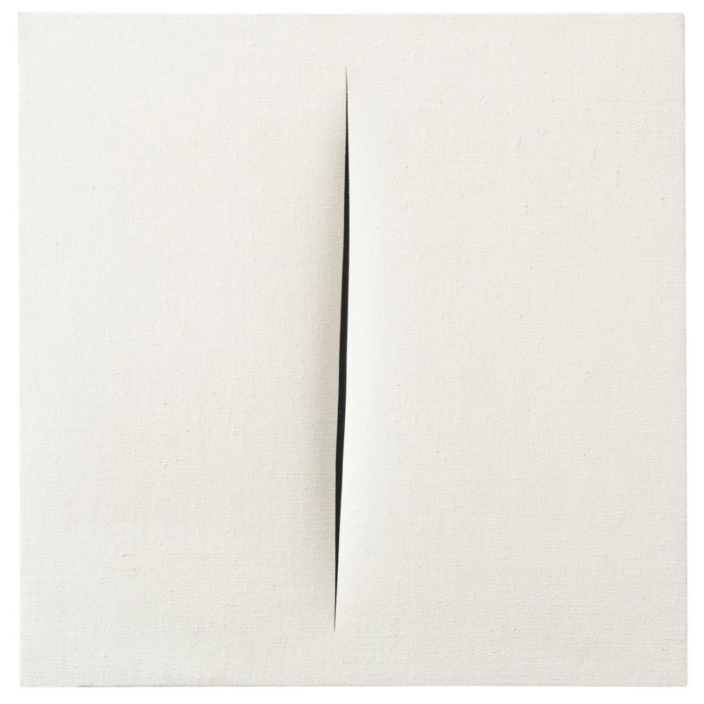 Lucio Fontana, Concetto Spaziale, Attese, Beyaz 19, Kanvas Tablo, Lucio Fontana, kanvas tablo, canvas print sales
