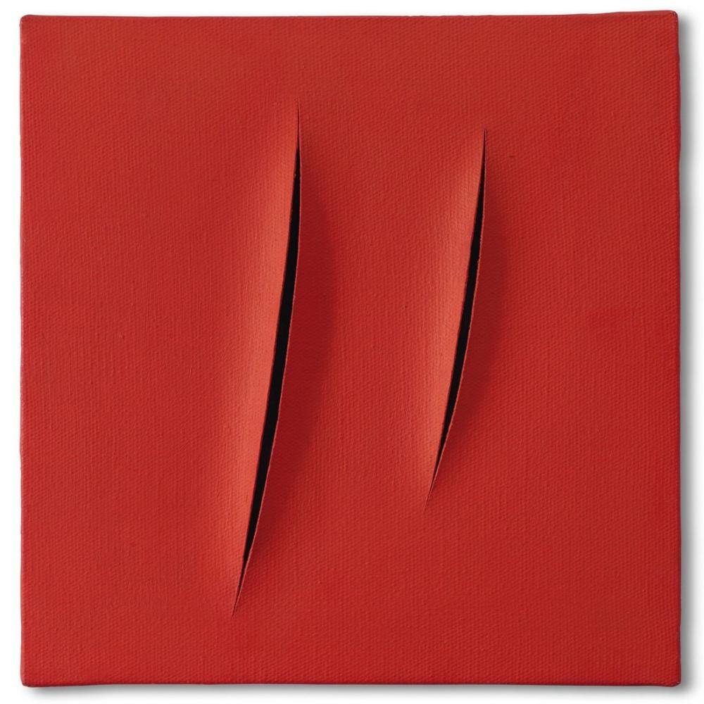 Lucio Fontana, Concetto Spaziale, Attese, Red 1, Canvas, Lucio Fontana, kanvas tablo, canvas print sales
