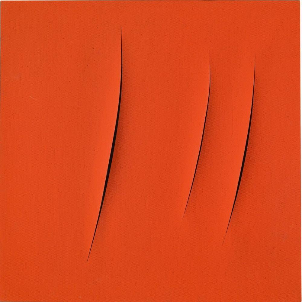 Lucio Fontana, Concetto Spaziale, Attese, Kırmızı 21, Kanvas Tablo, Lucio Fontana, kanvas tablo, canvas print sales