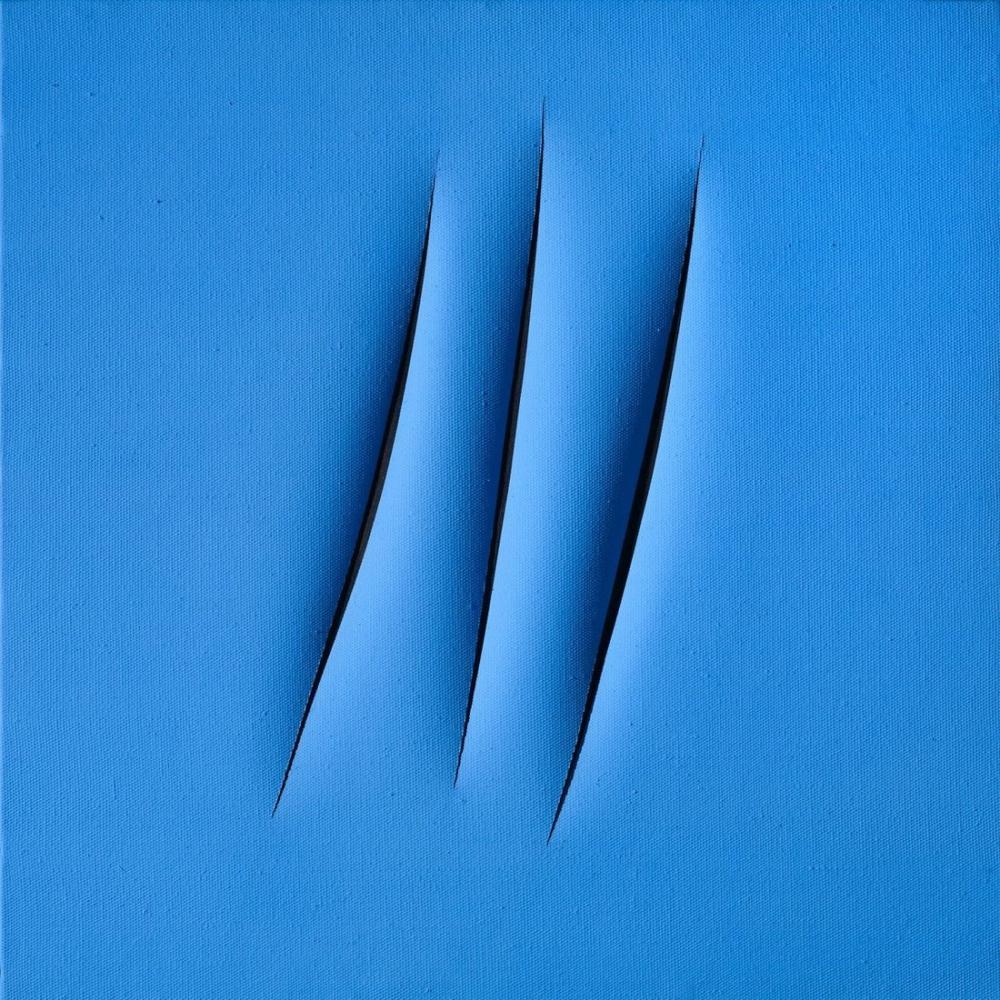 Lucio Fontana, Concetto Spaziale, Attese, Mavi, Kanvas Tablo, Lucio Fontana, kanvas tablo, canvas print sales
