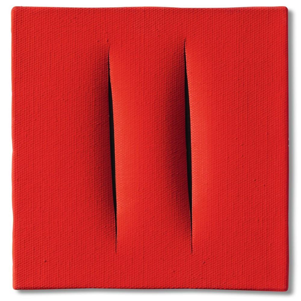 Lucio Fontana, Concetto Spaziale, Attese, Kırmızı 26, Kanvas Tablo, Lucio Fontana, kanvas tablo, canvas print sales