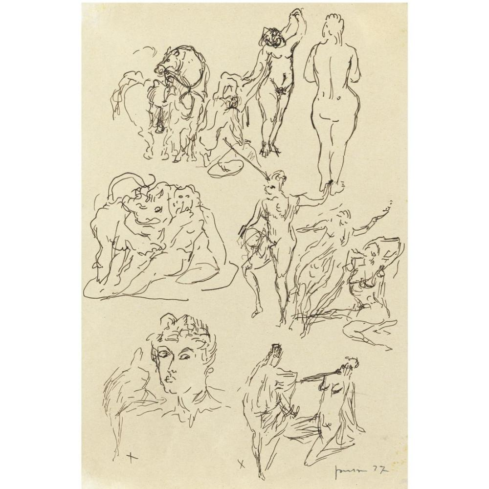 Lucio Fontana, Studi per Sculture, Kanvas Tablo, Lucio Fontana, kanvas tablo, canvas print sales
