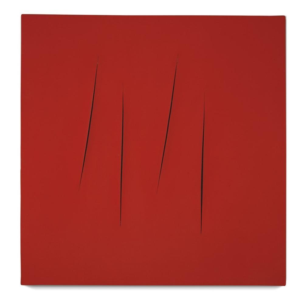 Lucio Fontana, Concetto Spaziale, Attese, Red 11, Canvas, Lucio Fontana, kanvas tablo, canvas print sales