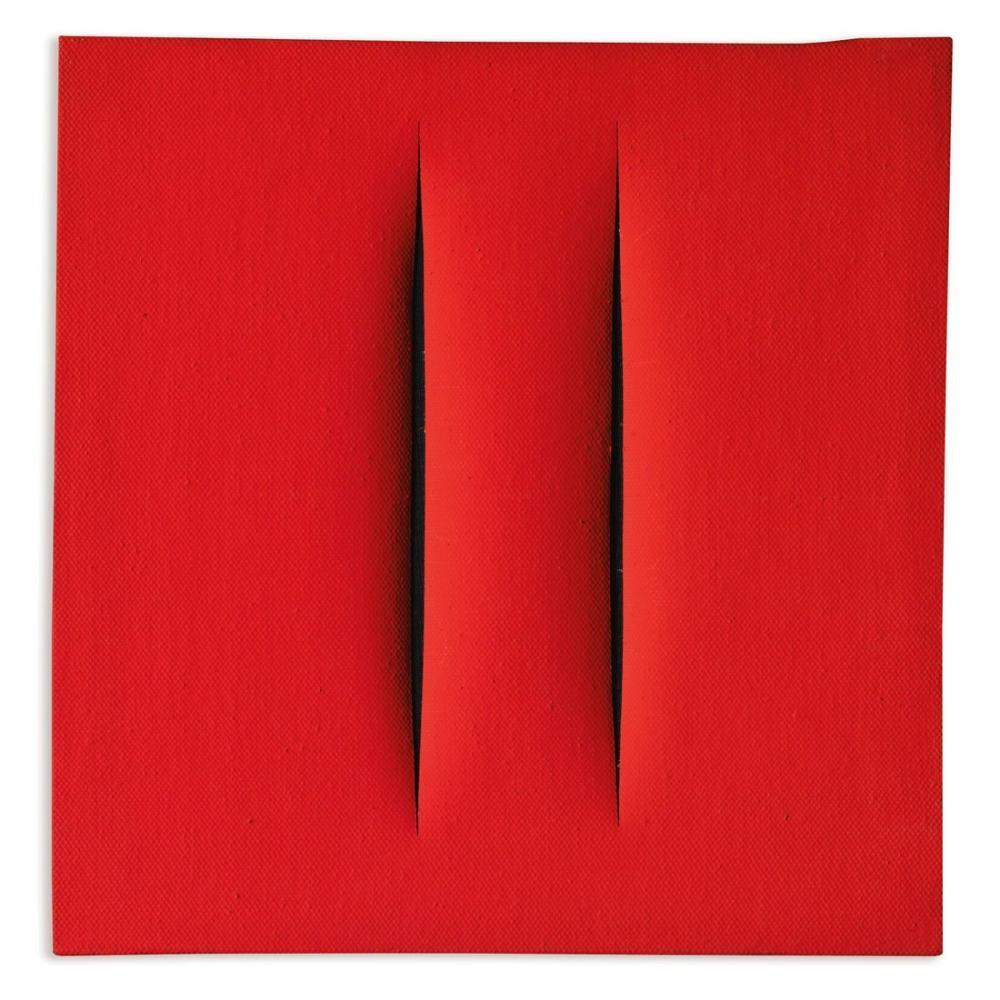 Lucio Fontana, Concetto Spaziale, Attese, Kırmızı 27, Kanvas Tablo, Lucio Fontana, kanvas tablo, canvas print sales