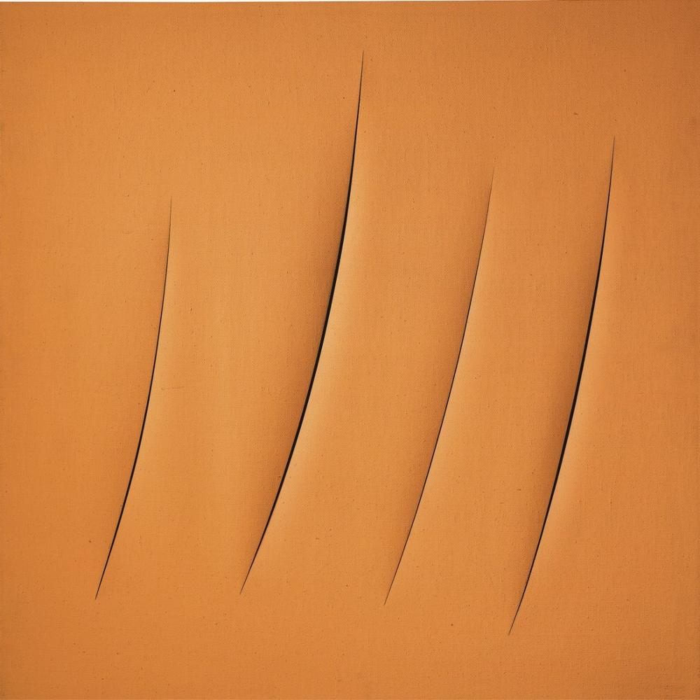 Lucio Fontana, Concetto Spaziale, Attese Turuncu, Kanvas Tablo, Lucio Fontana, kanvas tablo, canvas print sales
