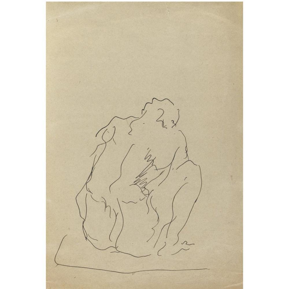 Lucio Fontana, Figura Sedut, Kanvas Tablo, Lucio Fontana, kanvas tablo, canvas print sales