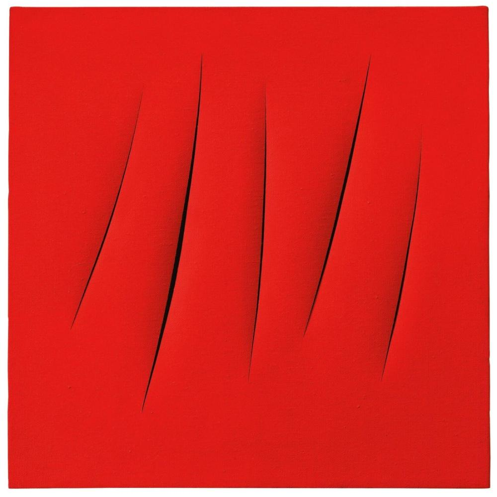 Lucio Fontana, Concetto Spaziale, Attese, Red 29, Canvas, Lucio Fontana, kanvas tablo, canvas print sales