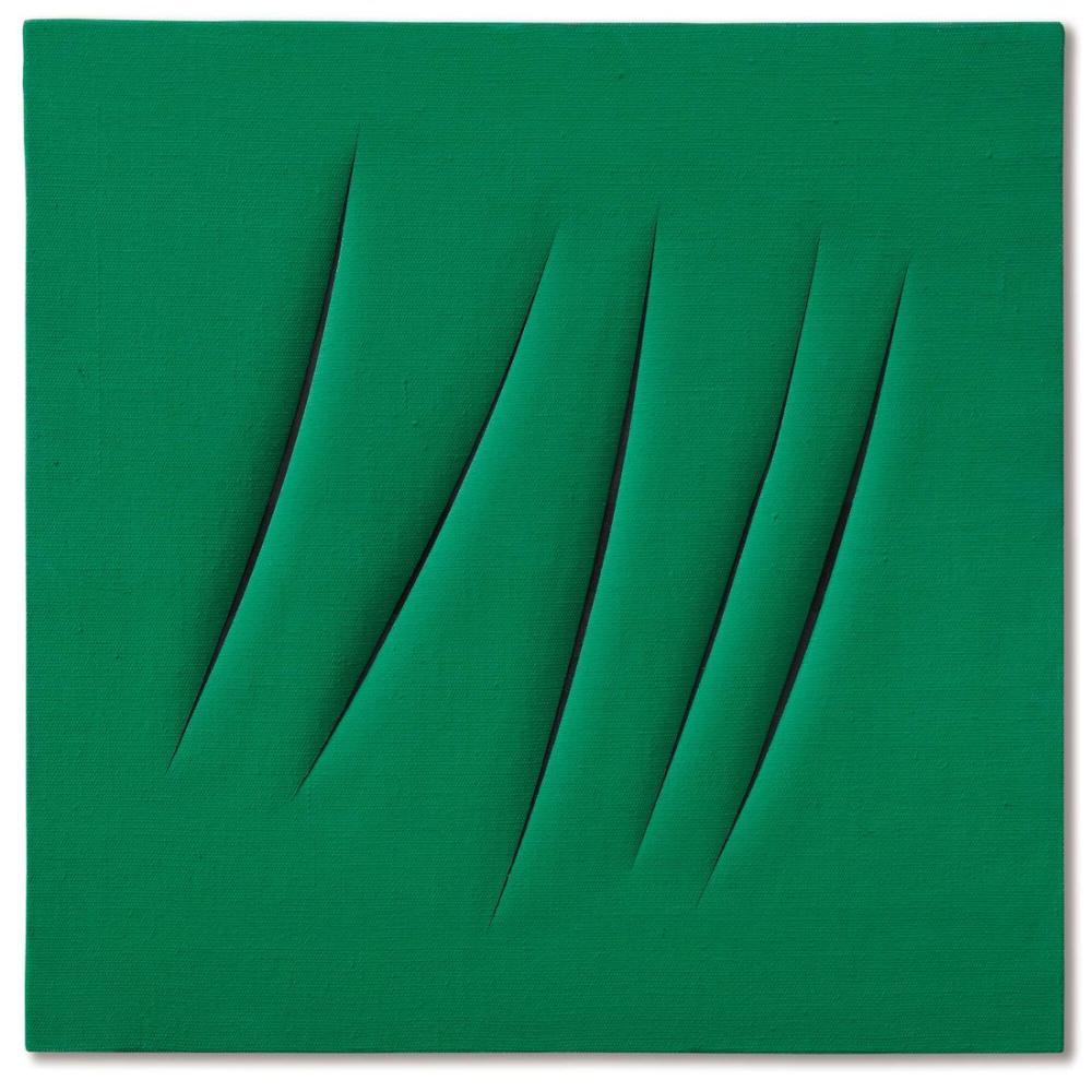 Lucio Fontana, Concetto Spaziale, Attese Yeşil 4, Kanvas Tablo, Lucio Fontana, kanvas tablo, canvas print sales
