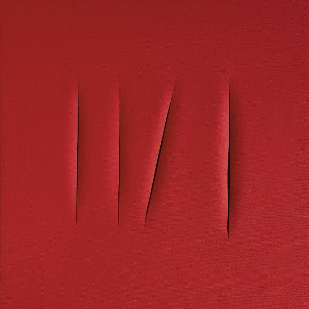 Lucio Fontana, Concetto Spaziale, Attese Kırmızısı, Kırmızı 4, Kanvas Tablo, Lucio Fontana, kanvas tablo, canvas print sales