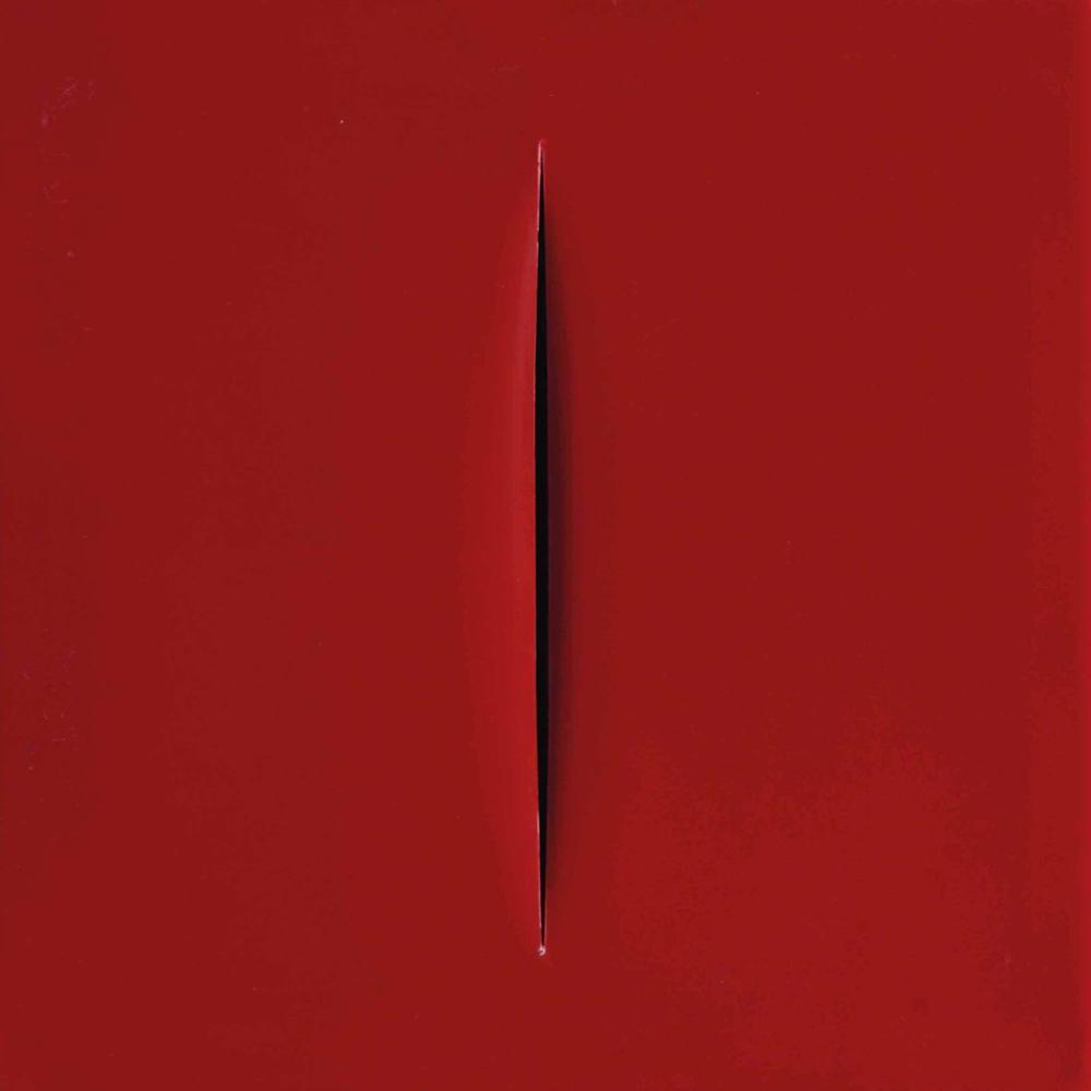 Lucio Fontana, Concetton Spaziale, Attesa Red 32, Canvas, Lucio Fontana, kanvas tablo, canvas print sales