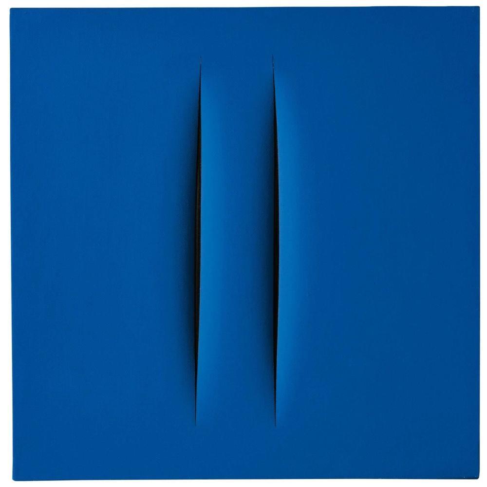 Lucio Fontana, Concetto Spaziale, Attese, Blue, Canvas, Lucio Fontana, kanvas tablo, canvas print sales