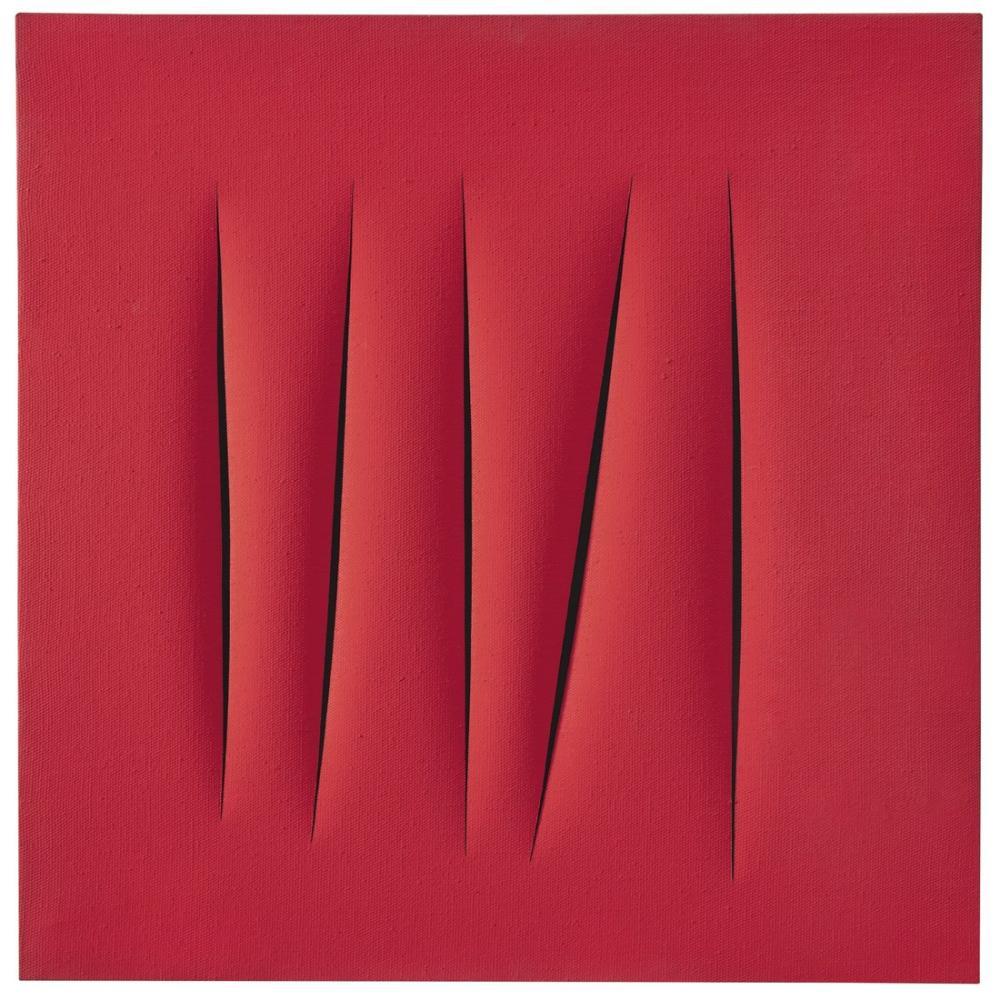 Lucio Fontana, Concetto Spaziale, Attese Rosso, Kırmızı 23, Kanvas Tablo, Lucio Fontana, kanvas tablo, canvas print sales