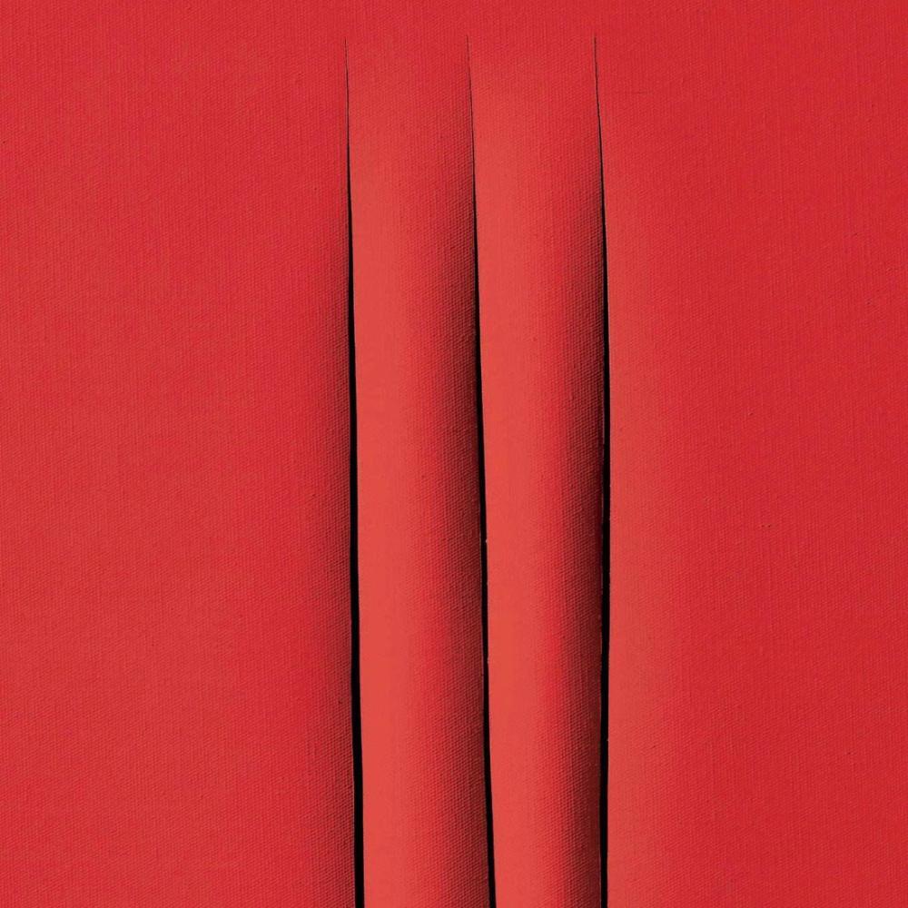 Lucio Fontana, Concetto Spaziale, Attese, Kırmızı 3, Kanvas Tablo, Lucio Fontana, kanvas tablo, canvas print sales