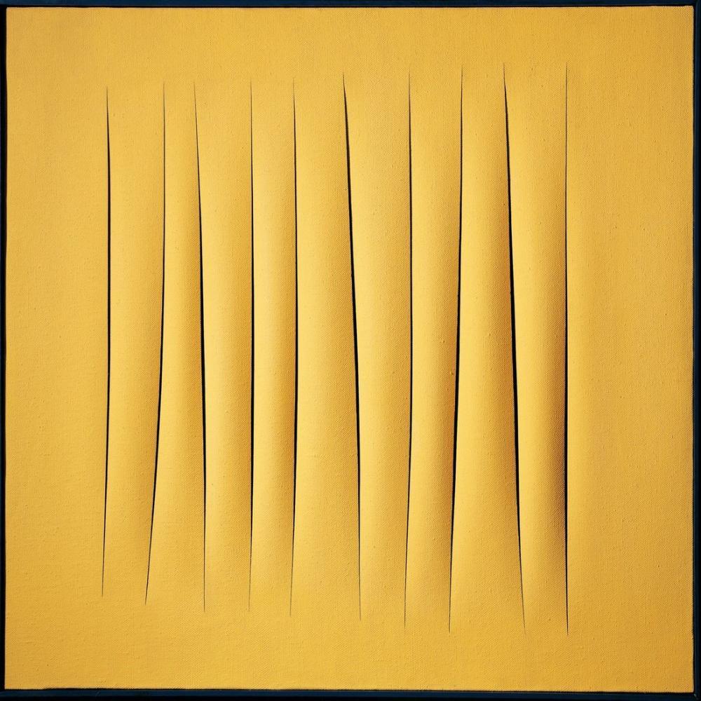 Lucio Fontana, Concetto Spaziale, Attese Sarı 1, Kanvas Tablo, Lucio Fontana, kanvas tablo, canvas print sales