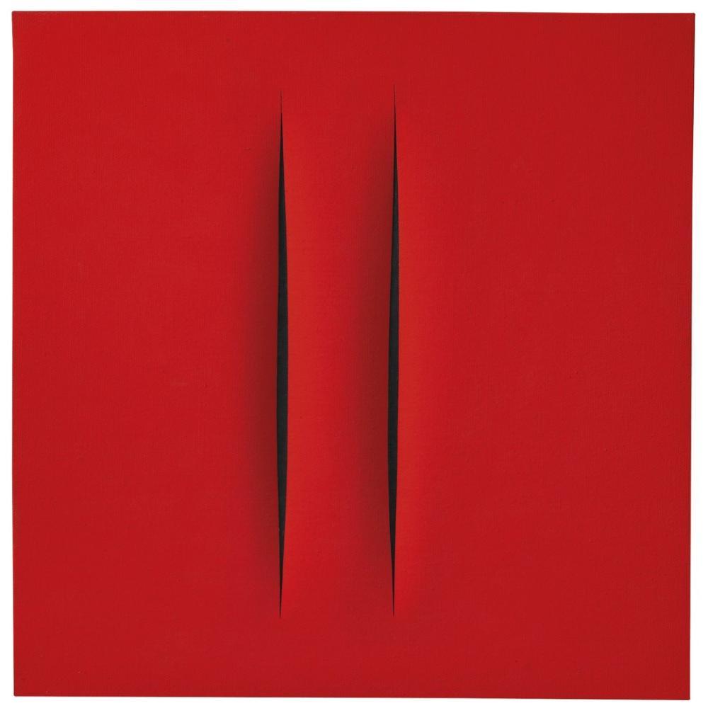 Lucio Fontana, Concetto Spaziale, Attese, Kırmızı 7, Kanvas Tablo, Lucio Fontana, kanvas tablo, canvas print sales