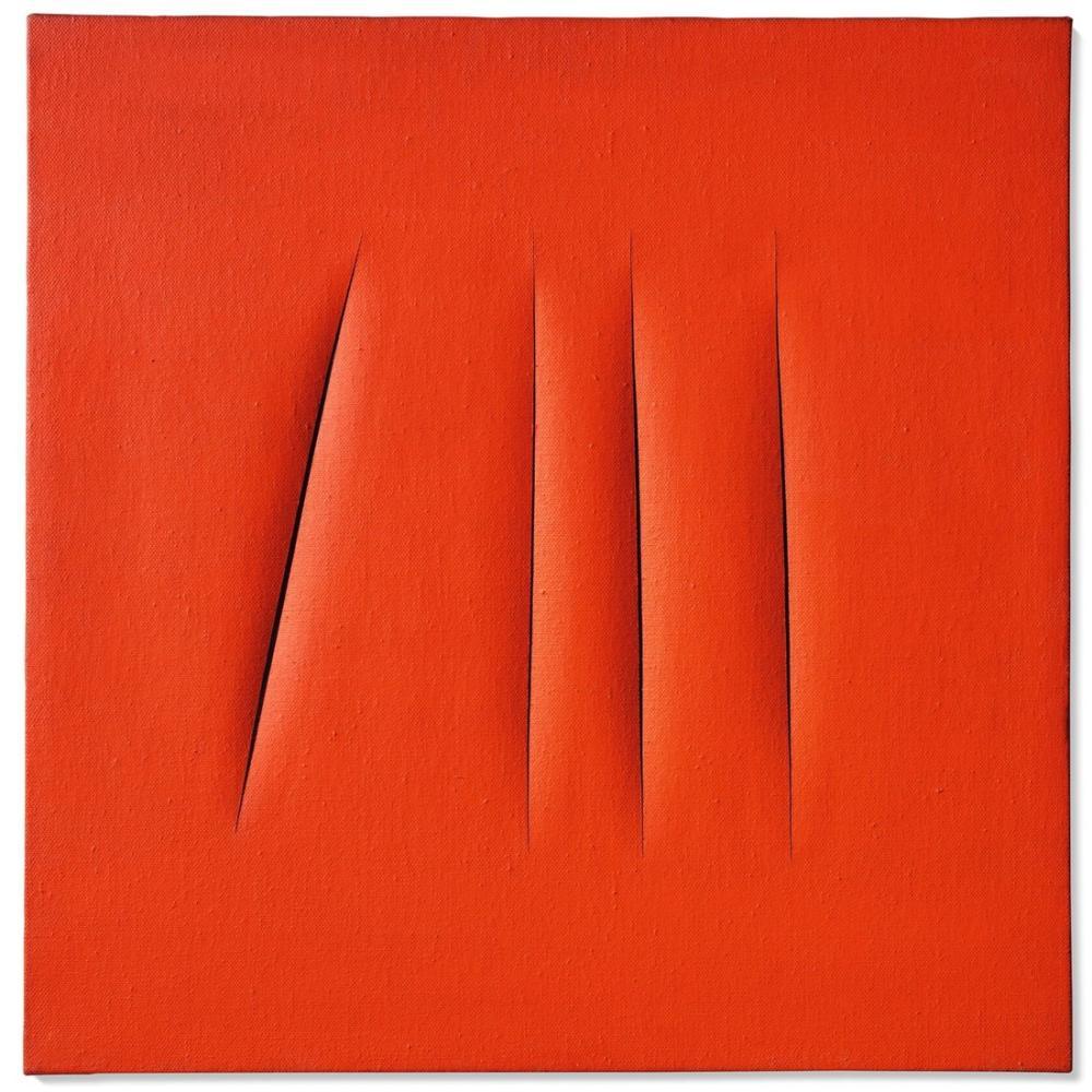 Lucio Fontana, Concetto Spaziale, Attese, Kırmızı 8, Kanvas Tablo, Lucio Fontana, kanvas tablo, canvas print sales