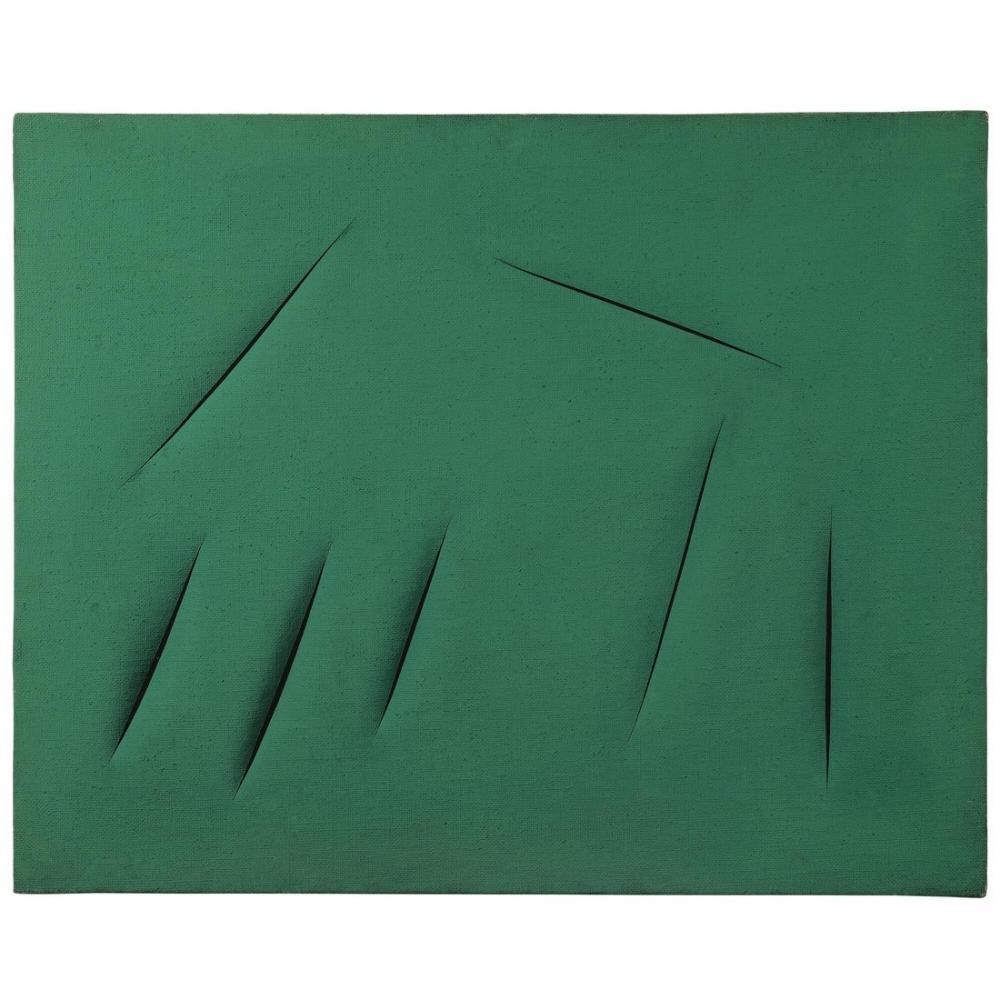 Lucio Fontana, Concetto Spaziale, Attese Verde Yeşil 6, Kanvas Tablo, Lucio Fontana, kanvas tablo, canvas print sales