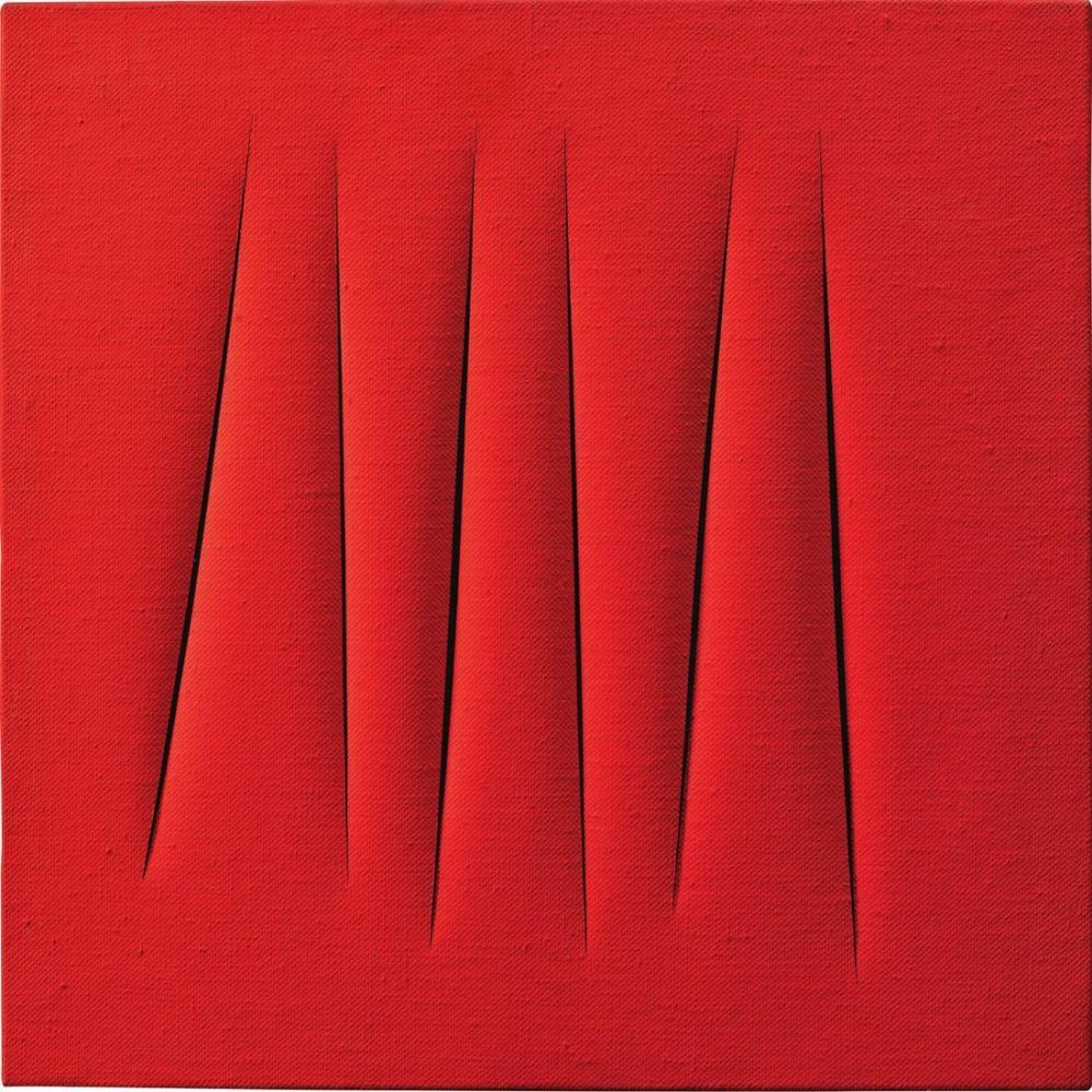 Lucio Fontana, Concetto Spaziale, Attese, Kırmızı 25, Kanvas Tablo, Lucio Fontana, kanvas tablo, canvas print sales