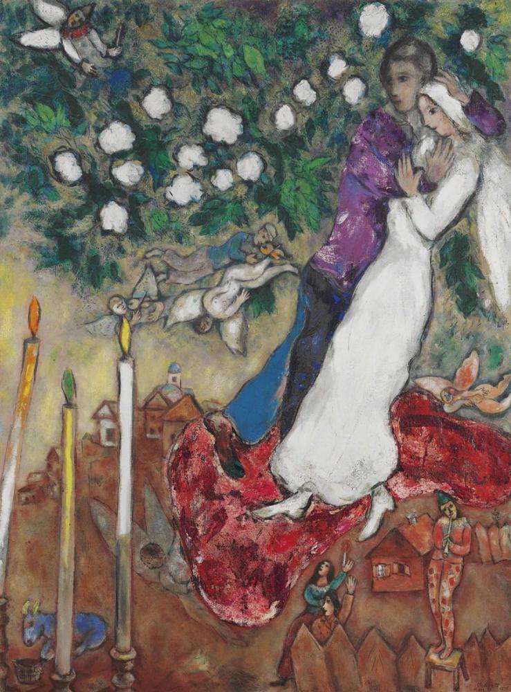 Marc Chagal A Les Trois Cierges, Figure, Marc Chagall, kanvas tablo, canvas print sales