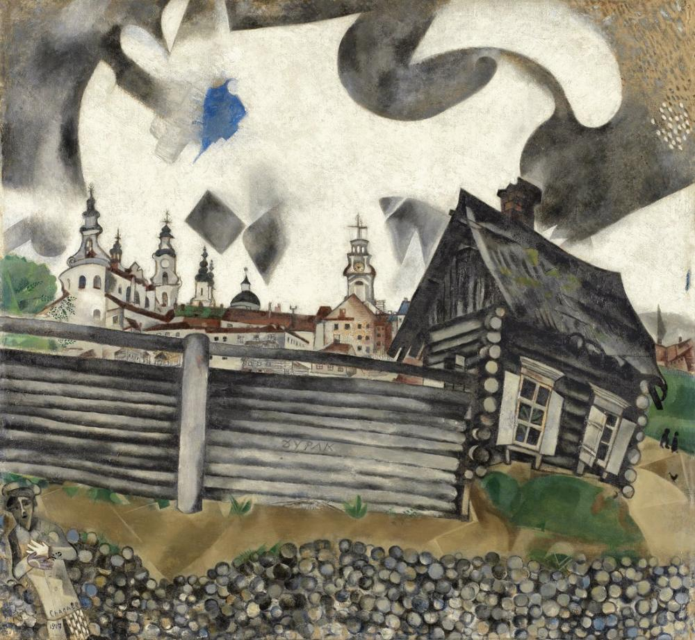 Marc Chagall Gri Ev, Figür, Marc Chagall, kanvas tablo, canvas print sales