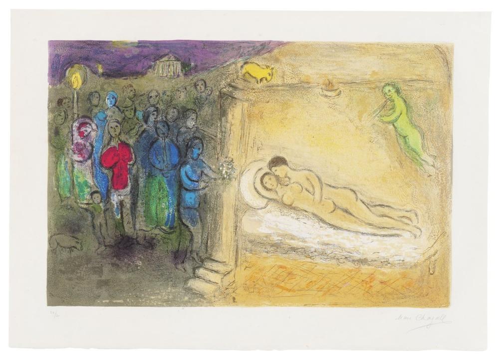 Marc Chagall Dapnis Et Chloe Şehrinden Hymenee, Figür, Marc Chagall, kanvas tablo, canvas print sales