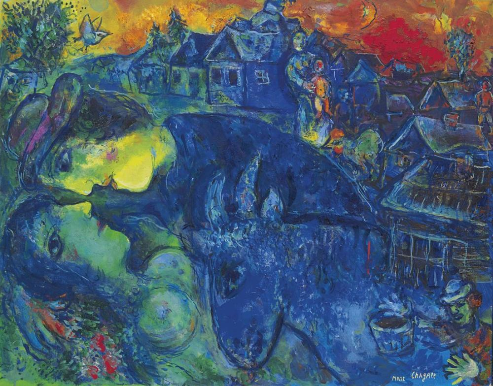 Marc Chagal A Le Village Bleu, Figure, Marc Chagall, kanvas tablo, canvas print sales