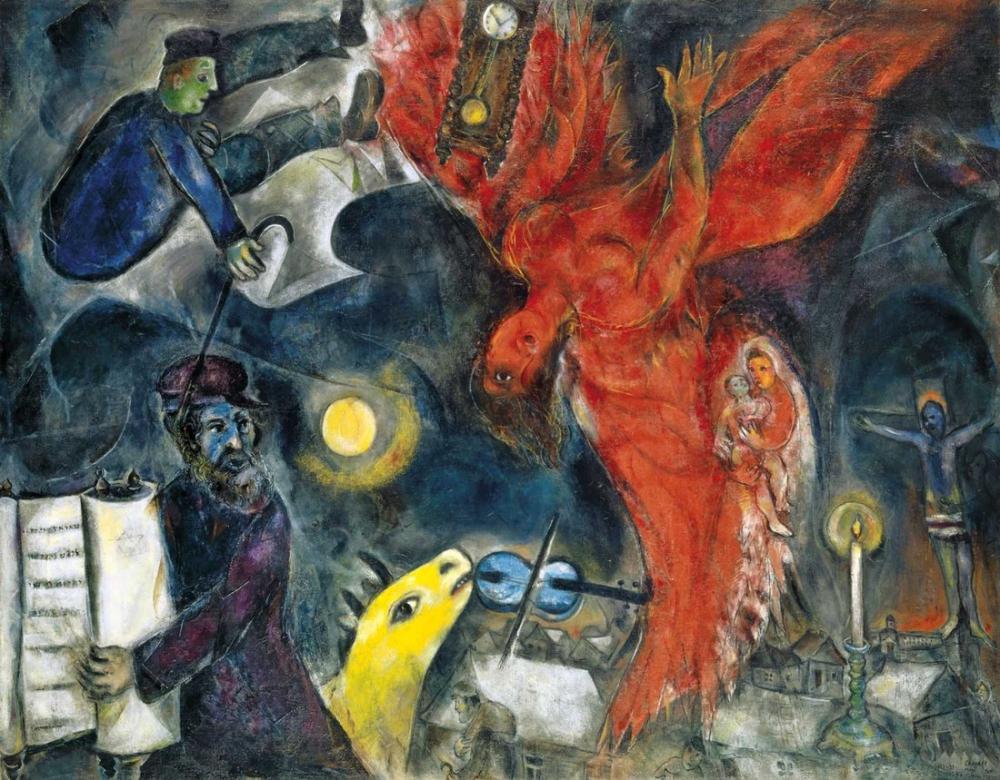 Marc Chagall Yahudi Ölüm Meleği, Figür, Marc Chagall, kanvas tablo, canvas print sales