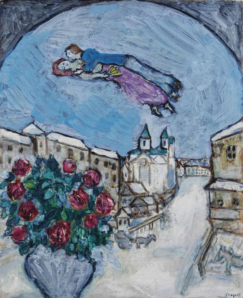 Marc Chagal Amoureux Dans Le Ciel Ou Village Enneige, Figure, Marc Chagall, kanvas tablo, canvas print sales