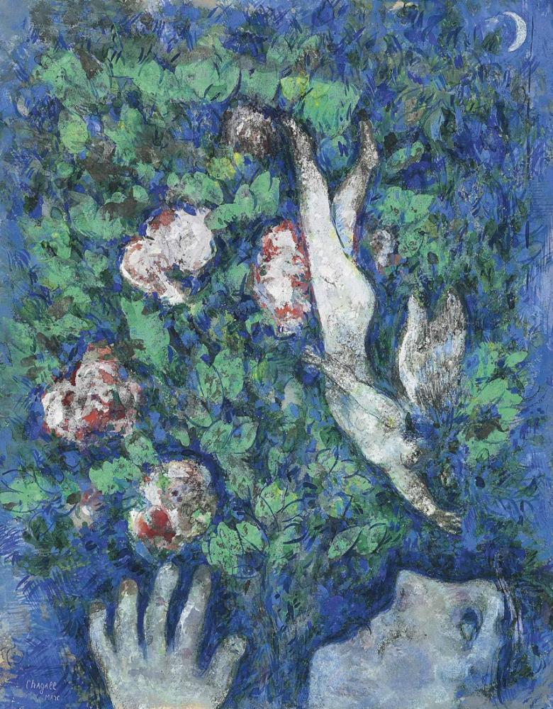 Marc Chagall Çiçekler İçinde Lange, Figür, Marc Chagall, kanvas tablo, canvas print sales